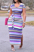 Light Purple Fashion Casual Plus Size Striped Print Slit O Neck Short Sleeve Dress