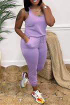 Purple Fashion Casual Solid Basic O Neck Regular Jumpsuits