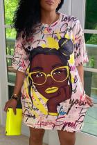 Purple Fashion Casual Print Basic O Neck Short Sleeve T-shirt Dress