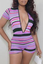 Purple Fashion Casual Striped Print Basic V Neck Skinny Romper