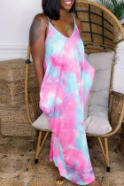 Pink Fashion Sexy Tie Dye Printing Spaghetti Strap Sleeveless Dress