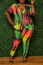 Multicolor Fashion Casual Tie Dye Printing Turndown Collar Plus Size Two Pieces