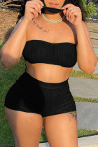 Black Simplicity Solid Strapless Sleeveless Two Pieces(with a mask)