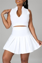 White Fashion Casual Solid Vests Zipper Collar Sleeveless Two Pieces