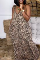 Brown Fashion Sexy Tie Dye Printing Spaghetti Strap Sleeveless Dress