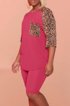 Rose Red Casual Leopard Split Joint O Neck Short Sleeve Two Pieces
