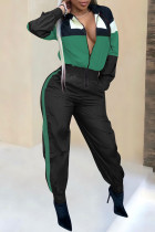 Green Casual Patchwork One-piece Jumpsuit