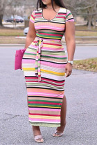 Pink Fashion Casual Plus Size Striped Print Slit O Neck Short Sleeve Dress