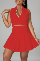 Red Fashion Casual Solid Vests Zipper Collar Sleeveless Two Pieces