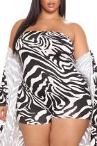Black White Elegant Animal Print Split Joint Strapless Plus Size Two Pieces