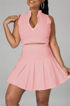 Pink Fashion Casual Solid Vests Zipper Collar Sleeveless Two Pieces