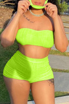 Green Simplicity Solid Strapless Sleeveless Two Pieces(with a mask)