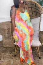 Orange Fashion Sexy Tie Dye Printing Spaghetti Strap Sleeveless Dress