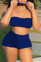 Blue Simplicity Solid Strapless Sleeveless Two Pieces(with a mask)