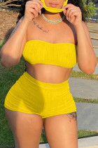 Yellow Simplicity Solid Strapless Sleeveless Two Pieces(with a mask)