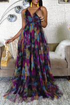Purple Fashion Sexy Print Tie Dye Backless V Neck Sling Dress