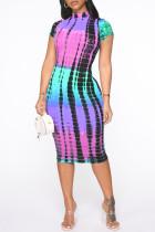 Purple Fashion Casual Print Basic Half A Turtleneck Short Sleeve Dress