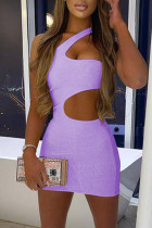 Light Purple Fashion Sexy Solid Hollowed Out Backless One Shoulder Sleeveless Dress