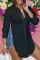 Black Fashion Casual Solid Slit Turndown Collar Tops
