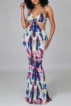 Purple Fashion Sexy Print Backless Spaghetti Strap Sleeveless Dress