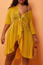 Yellow Sexy Solid Lace Bandage Asymmetrical Swimwears Cover Up