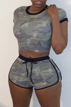 Army Green Fashion Casual Camouflage Print Basic O Neck Short Sleeve Two Pieces
