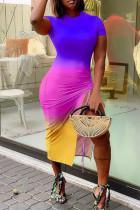 Purple Fashion Casual Gradual Change Print Slit O Neck Short Sleeve Dress