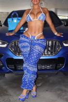 Deep Blue Fashion Sexy Print Backless Swimwears Three-piece Set