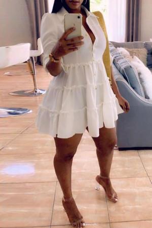White Fashion Casual Solid Turndown Collar Shirt Dress