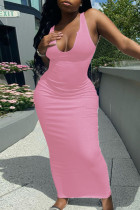 Pink Casual Daily Solid Split Joint V Neck A Line Dresses