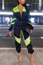 Black Sports Stitching Lapel Long Sleeve Jumpsuit