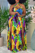 Yellow Fashion Sexy Plus Size Print Backless Slit Halter Sleeveless Dress