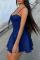 Deep Blue Sexy Solid Split Joint Spaghetti Strap Cake Skirt Dresses
