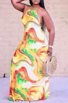 Gold Fashion Sexy Print Backless Halter Sleeveless Dress