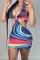 Colour Fashion Sexy Print Backless Halter Pencil Dresses