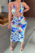 Blue Fashion Sexy Print Tie Dye Hollowed Out Backless Halter Sleeveless Dress