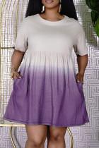 Purple Fashion Casual Gradual Change Print Basic O Neck Short Sleeve Dress