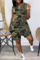 Green Fashion Casual Camouflage Print Basic V Neck Regular Romper
