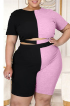 Black Pink British Style Patchwork Cut Out O Neck Plus Size Two Pieces