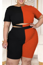 Black Red British Style Patchwork Cut Out O Neck Plus Size Two Pieces