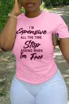 Pink Fashion Casual Letter Print Basic O Neck T-Shirts