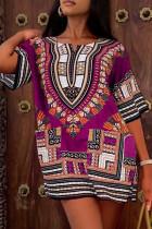 Purple Fashion Casual Print Basic O Neck Short Sleeve Dress