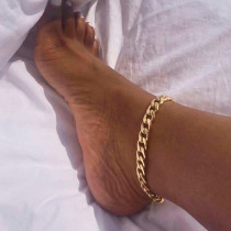 Gold Fashion Retro Solid Hollowed Out Anklet