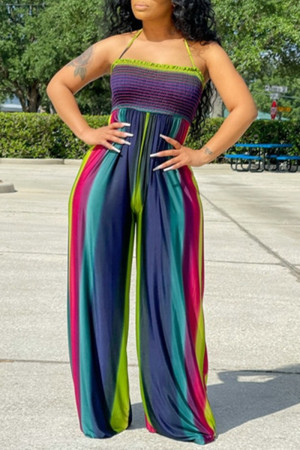 Colour Sexy Casual Print Backless Halter Regular Jumpsuits