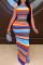 Multi-color Fashion Sexy Patchwork Print Backless Slit O Neck Sleeveless Dress