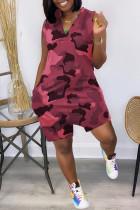 Red Fashion Casual Camouflage Print Basic V Neck Regular Romper