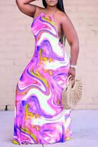 Purple Fashion Sexy Print Backless Halter Sleeveless Dress