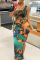 Black Sexy Print High Opening Square Collar Pencil Skirt Dresses