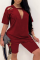Red Casual Solid Split Joint O Neck Short Sleeve Two Pieces