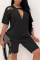 Black Casual Solid Split Joint O Neck Short Sleeve Two Pieces